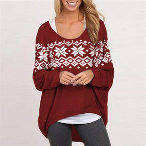 Printed Loose Casual Asymmetrical Pullover Sweatshirt