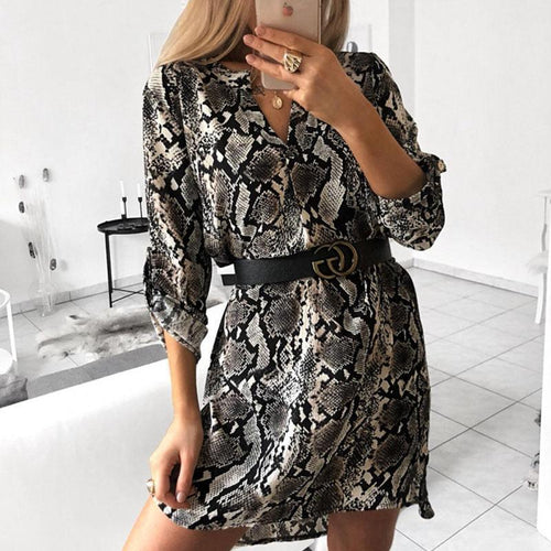 V Neck Fashion Animal Printed Casual Dress