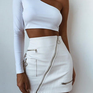Sexy Solid Bodycon Zipper Mini Skirt