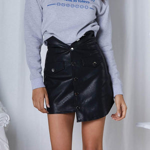 PU Fashion Button Asymmetrical Hem Mini Skirts