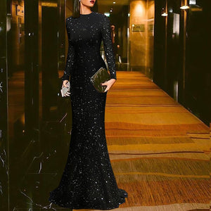 Elegant Black Round Neck Maxi Evening Dress