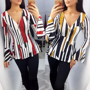 Zipper V Neck Printed Long Flare Sleeve Fashion Blouses