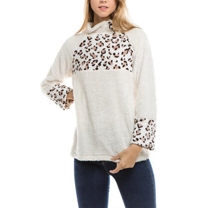 Turtle Neck Leopard Printed Patchwork Polar Fleece Sweatshirts