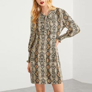 V Neck Long Sleeve Snake Printed Casual Dress