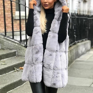Hooded Faux Fur Sleeve Plain Vests Fashion Outerwear
