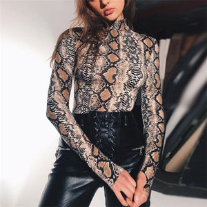 Sexy High Collar Slim Snake Printed Jumpsuit