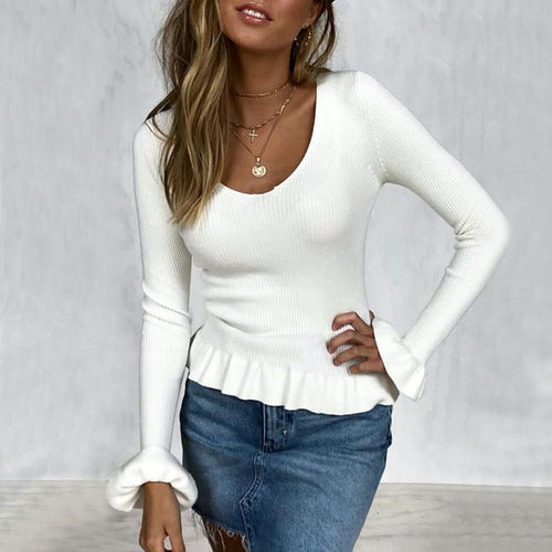 V-Neck Long Sleeve Plain Pure Sweater