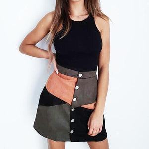 Single Breasted  Geometric Mini Skirts