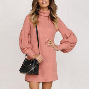Turtle Neck Long Lantern Sleeve Plain Casual Dress