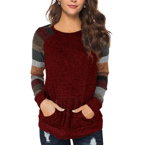 Round Neck Long Sleeve Color Block Casual Sweatshirts