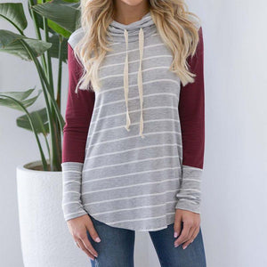 Turtle Neck Long Sleeve Patchwork Casual Sweatshirts