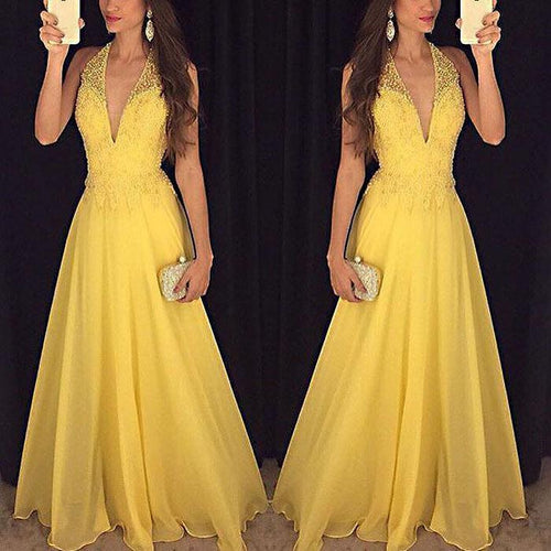 Sleeveless Halter Sexy Deep V Evening Dress