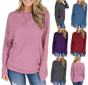 Round Neck Long Sleeve Plain Sweatshirts