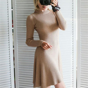 Sexy Pure Color Round   Collar Shown Thin  Hem Fold Mini Dress