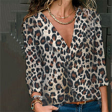 Sexy V-Neck Loose Leopard Long Sleeve Shirt