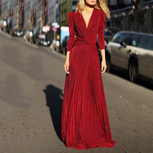 Fashion V-Neck Long-Sleeved Evening Dress