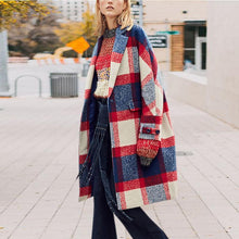 Fashion Turndown   Collar Plaid Printed Long Sleeve Coat
