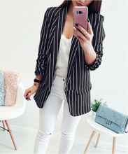 Sexy Long-Sleeved Striped Suit Jacket