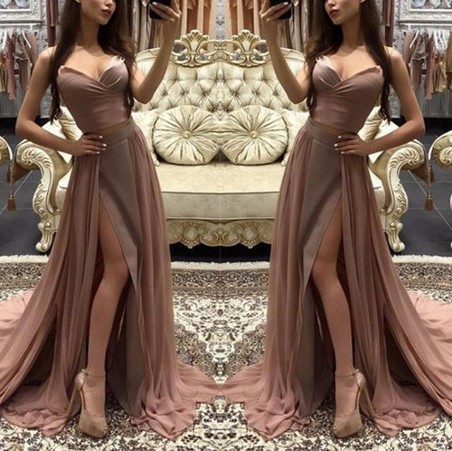 Sexy Pure Colour Slit Sling Evening Dress