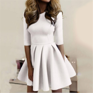 Slim Fashionable Solid Color Dress