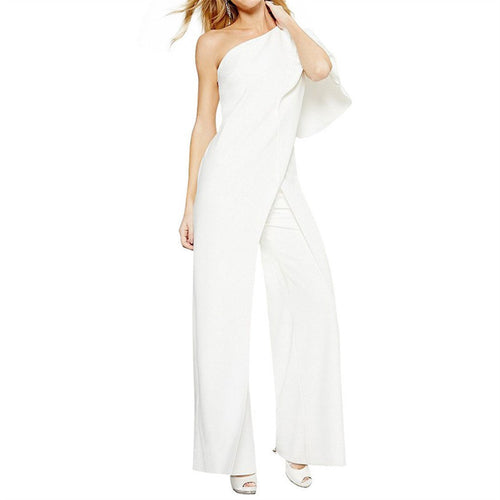 Stylish Slanted Shoulder Irregular Wide-Leg Jumpsuit