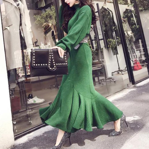 Fashion Pure Colour High Collar Waist Knitted Dress