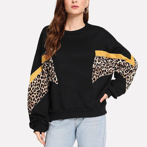 Round Neck Long Sleeve Leopard Patchwork Color Block Sweatshirts