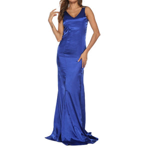 Sexy V-Neck Sleeveless Floor-Length Dress