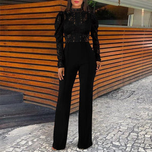 Lace Stand Collar Long Sleeve   Jumpsuit