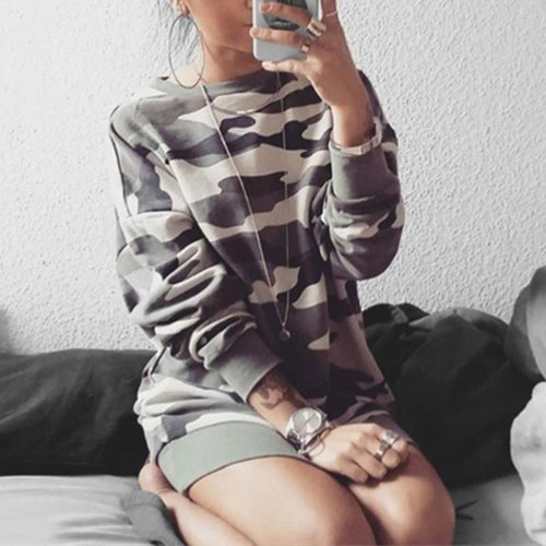 Round Neck Camouflage Printed Long Sleeve Sweatshirts