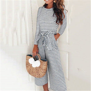 Stylish Striped With Long Sleeves Jumpsuit