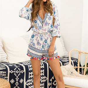 Stylish V Neck Printed Jumpsuit