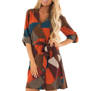 Sexy V Neck Geometric Print Irregular Dress