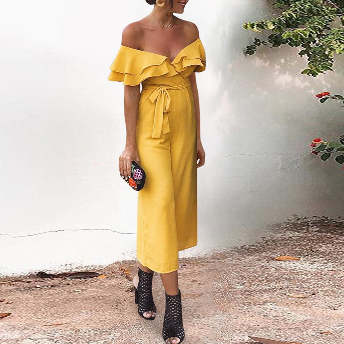 Sexy Off The Shoulder Ruffle Jumpsuit
