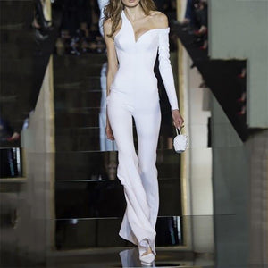 Sexy V Neck Pure Colour One Sleeve Jumpsuits