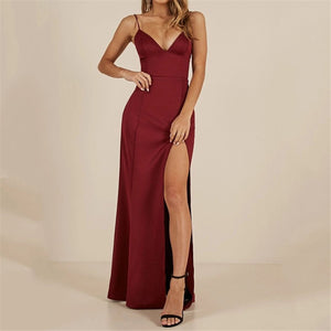 Sexy V Neck Slit Sleeveless Dress