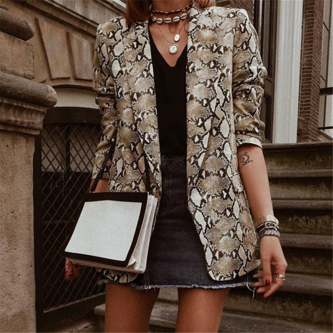 Stylish Little Serpentine Print Blazer