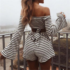 Striped Flared Sleeve Bow Jumpsuit
