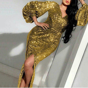 Sexy V Neck Bishop Sleeve Gold Evening Dress
