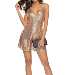Sexy Sequined Sling With Open Back Dress