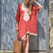 Sexy V Neck Lace Stitched Loose Dress