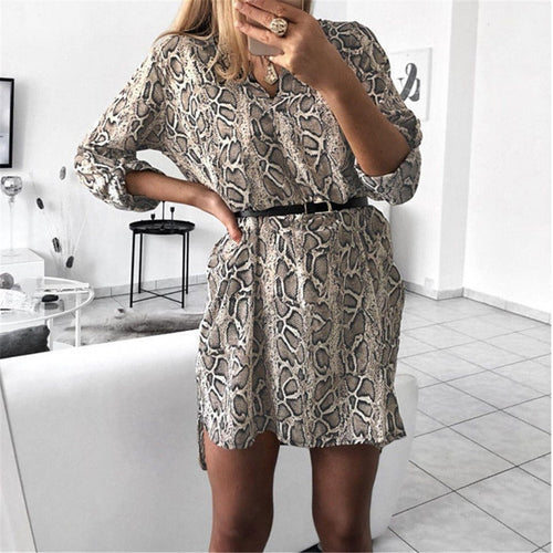 Sexy V Collar Printed Long Sleeved Shirt Dress