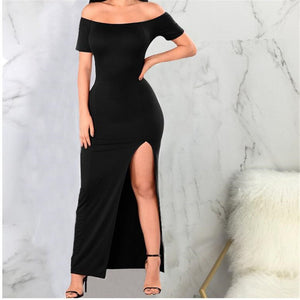 Sexy One Shoulder Split Irregular Dress