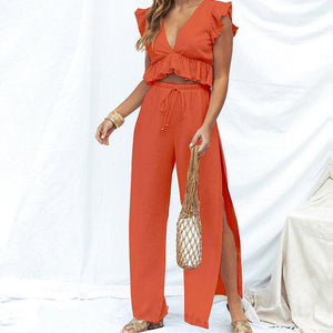 Sexy V-Neck Ruffled Sleeveless Chiffon Top Split Wide-Leg Pants Two-Piece Suit