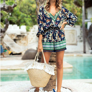 V-Neck Print Cropped Sleeves Jumpsuit Tassel Shorts