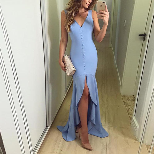 Sexy V Neck Slit Pure Colour Irregular Evening Dress