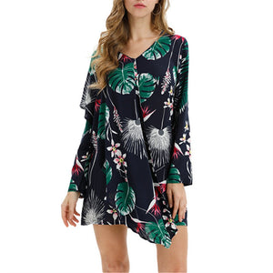 V Collar Printed Casual Long Sleeved Dress