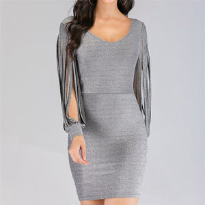Sexy Long Sleeve With Stitching Dress