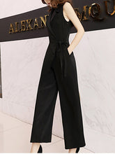 Fashion High-Waist V Neck Chiffon Pure Colour Jumpsuits