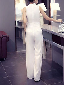 Fashion Sleeveless Pure Colour V Neck Jumpsuits